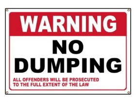 Royal National Park No Dumping Sign