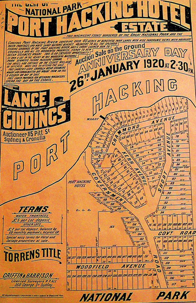 Port Hacking Hotel Estate Advertisment 1920