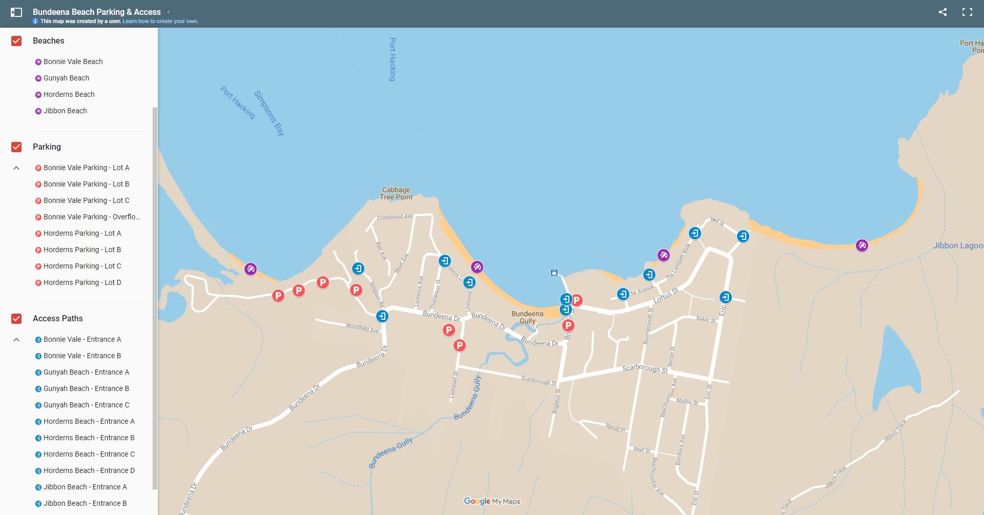 Bundeena Beach Parking Access Map